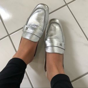 BCBGeneration Silver Leather Loafers